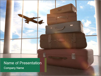 Travel bags in airport PowerPoint Template - Slide 1