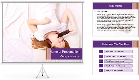A young redhead woman PowerPoint Template
