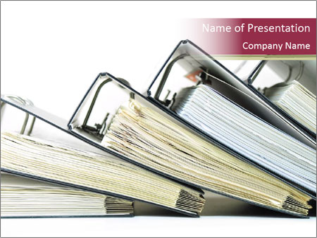 Row of ring binders PowerPoint Template