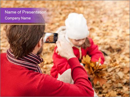 Man taking autumn outdoor PowerPoint Templates