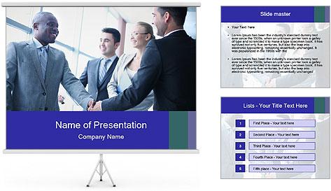 Businessmen handshaking PowerPoint Template