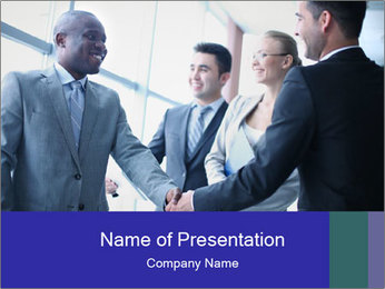 Businessmen handshaking PowerPoint Template