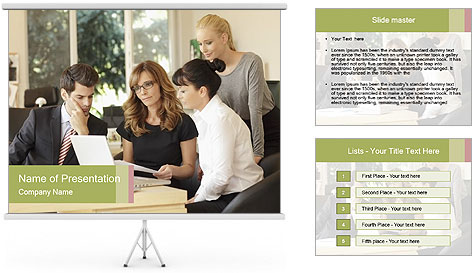 Positive businesswoman sitting PowerPoint Template