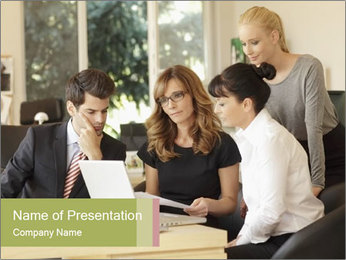 Positive businesswoman sitting PowerPoint Template