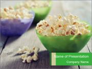Popcorn in plastic bowls PowerPoint Template
