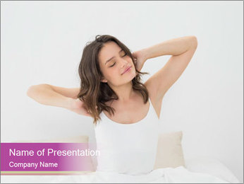 Young woman waking up PowerPoint Template