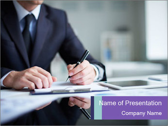 Businessman Making Notes PowerPoint Template - Slide 1