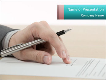 Business man signing finance PowerPoint Template