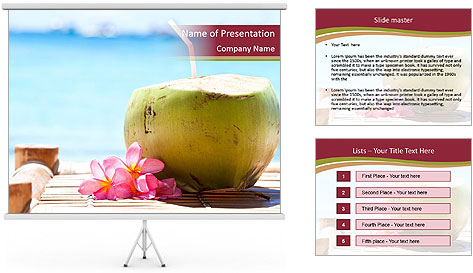 Tropical fresh coconut cocktail PowerPoint Template