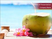 Tropical fresh coconut cocktail PowerPoint Templates