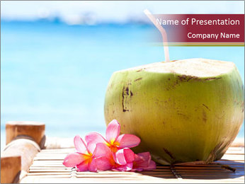 Tropical fresh coconut cocktail PowerPoint Template - Slide 1