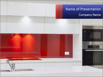 Stylish White And Red Kitchen PowerPoint Template