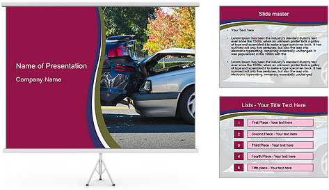Auto accident involving two cars on a city street PowerPoint Template