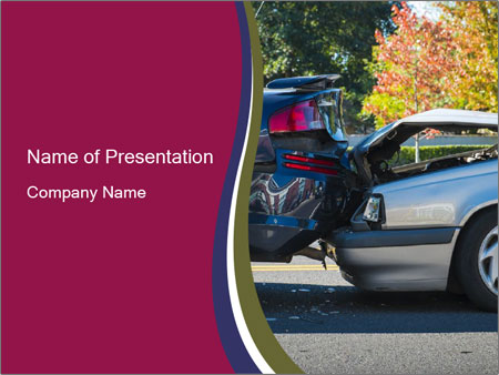 Auto accident involving two cars on a city street PowerPoint Templates