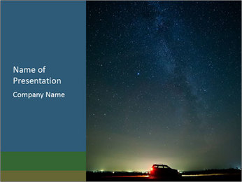 Night Sky And Car PowerPoint Template - Slide 1