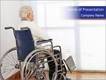 Lonely Woman In Wheelchair PowerPoint Template