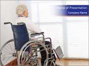 Lonely Woman In Wheelchair PowerPoint Templates