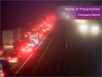 A convoy on a highway PowerPoint Template