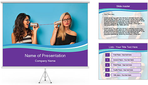 Blonde and brunette women talking PowerPoint Template