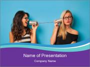 Blonde and brunette women talking PowerPoint Templates