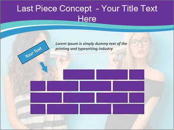Blonde and brunette women talking PowerPoint Templates - Slide 46