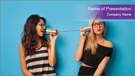 Blonde and brunette women talking PowerPoint Template