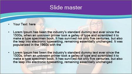 Blonde and brunette women talking PowerPoint Template - Slide 2