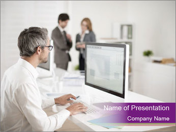 Businessman works PowerPoint Template