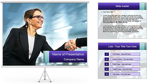 Business woman greeting a visit PowerPoint Template