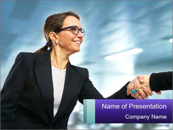 Business woman greeting a visit PowerPoint Template - Slide 1