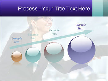 Business woman greeting a visit PowerPoint Template - Slide 87