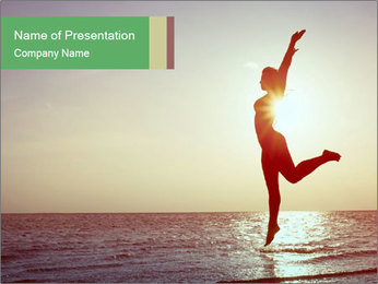 Happy Woman Jumping PowerPoint Template - Slide 1