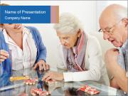 Senior couple playing Bingo PowerPoint Template