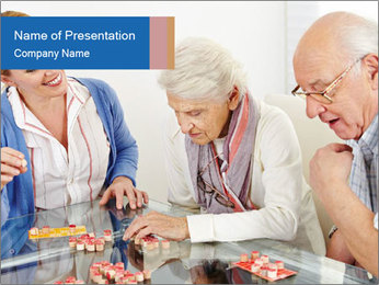 Senior couple playing Bingo PowerPoint Template - Slide 1
