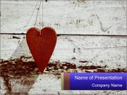 Rustic wooden red heart PowerPoint Templates
