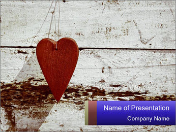 Rustic wooden red heart PowerPoint Template - Slide 1