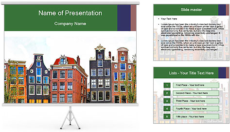Amsterdam . traditional houses border PowerPoint Template