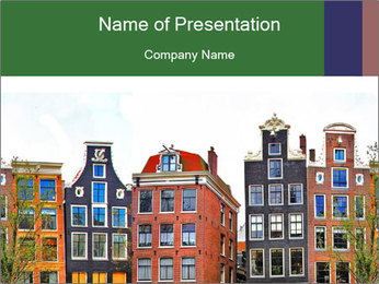 Amsterdam . traditional houses border PowerPoint Template - Slide 1