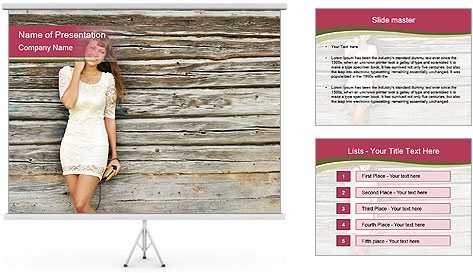Beautiful girl standing PowerPoint Template