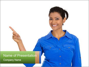 Happy pretty young smiling woman PowerPoint Template - Slide 1