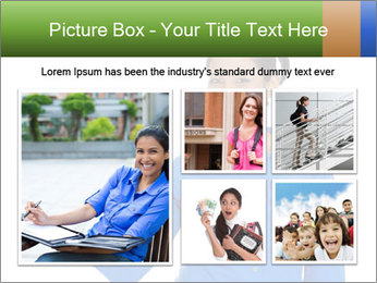 Happy pretty young smiling woman PowerPoint Template - Slide 19