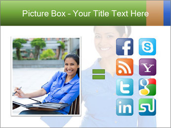 Happy pretty young smiling woman PowerPoint Template - Slide 21