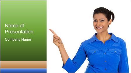 Happy pretty young smiling woman PowerPoint Template