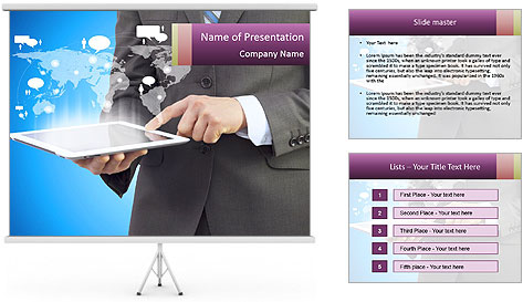 Businessman in a suit holding a tablet computer PowerPoint Template