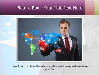 Businessman in a suit holding a tablet computer PowerPoint Templates - Slide 16