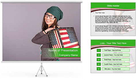 Girl with a suitcase PowerPoint Template