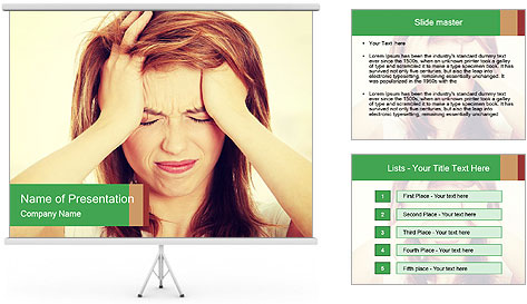 Teen woman with headache PowerPoint Template