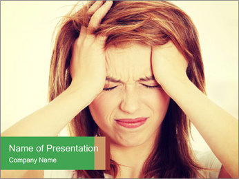 Teen woman with headache PowerPoint Template - Slide 1