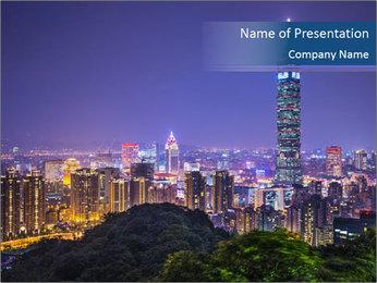 Taiwan skyline PowerPoint Template - Slide 1
