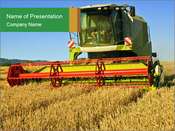 Combine harvester at work PowerPoint Template - Slide 1